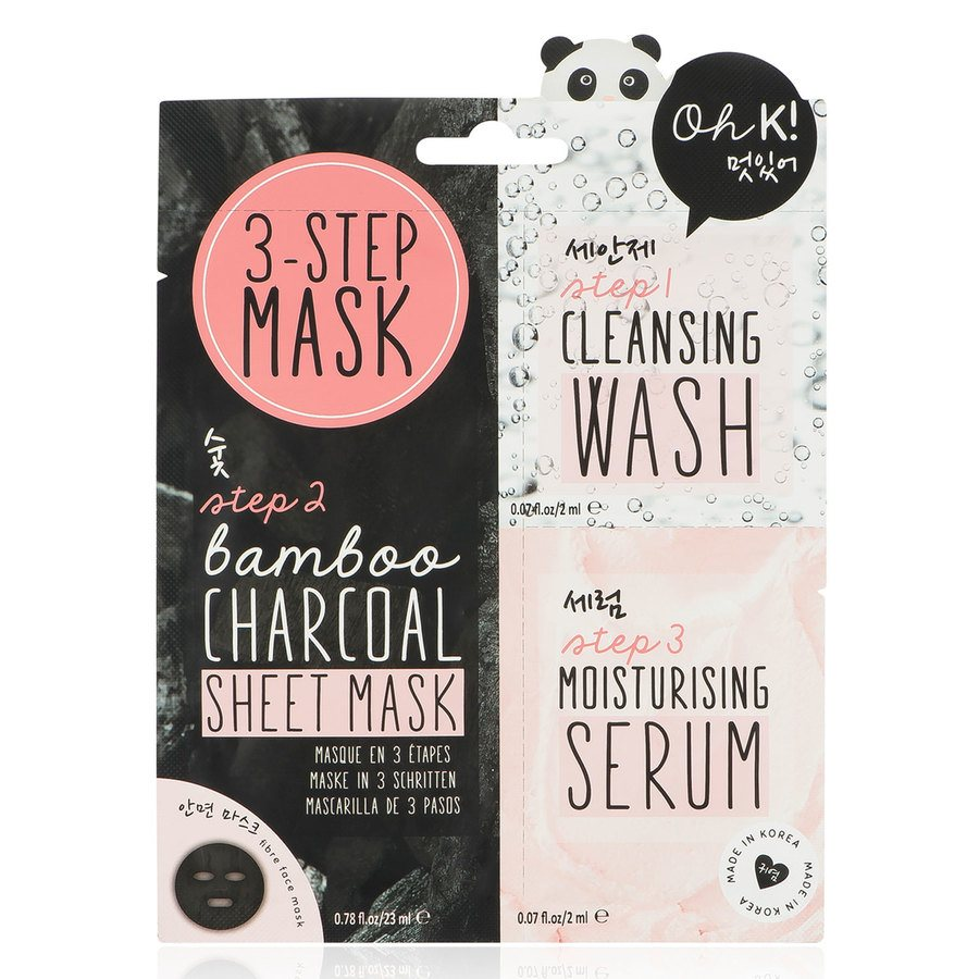 Oh K! 3-Step Cleansing & Moisturising  Bamboo Charcoal Face Mask 23ml + 2ml