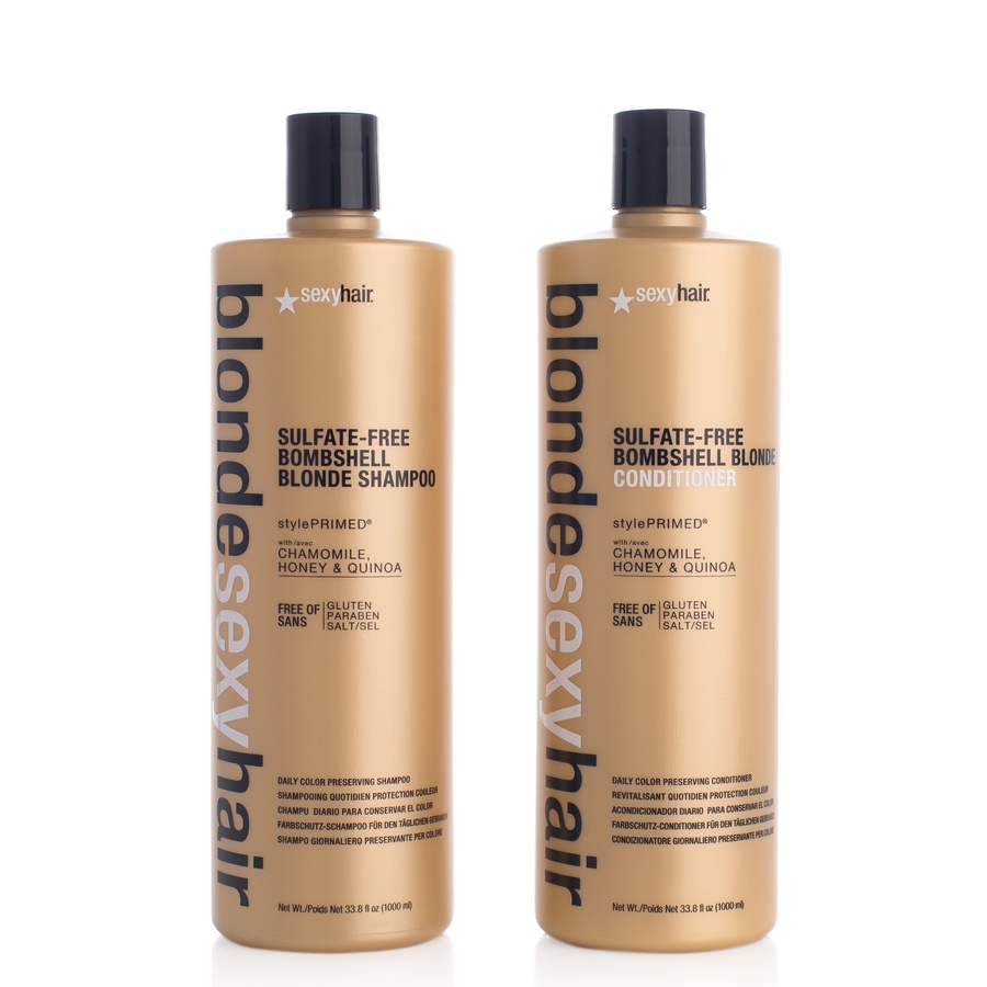 Sexy Hair Bombshell Blonde Sexy Hair Shampoo Og Balsam 2 x 1000ml (Duo)