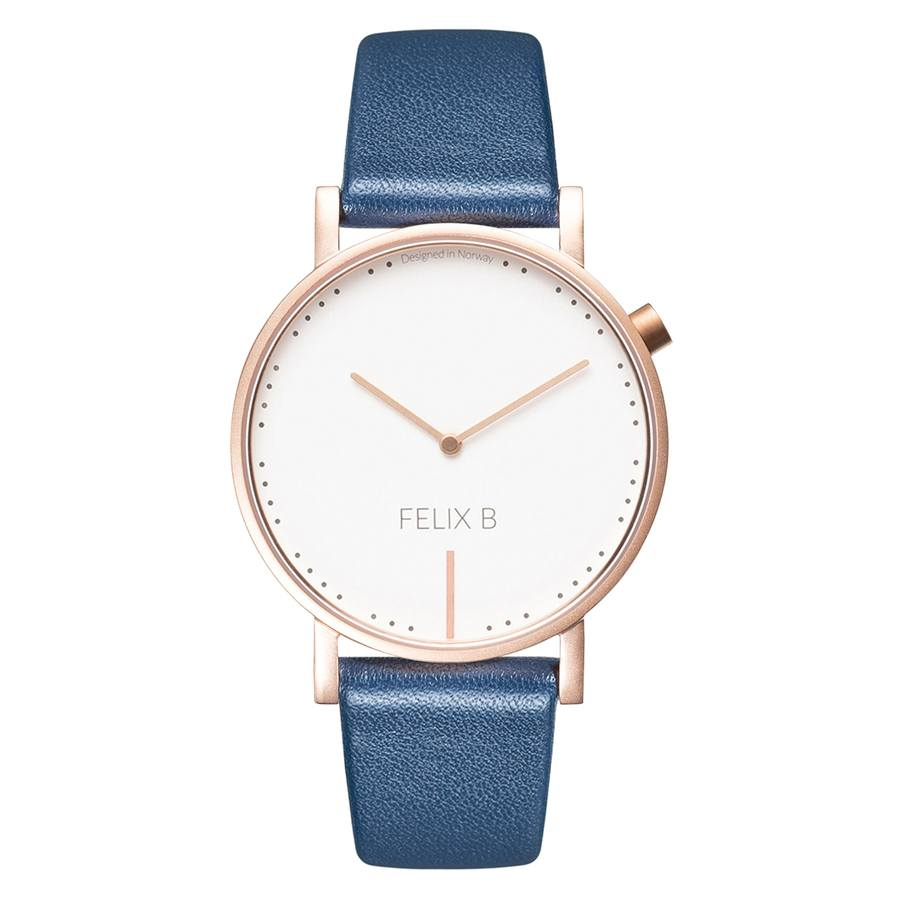 Felix B Ren Dag Rose Gold/White/Blue - Leather