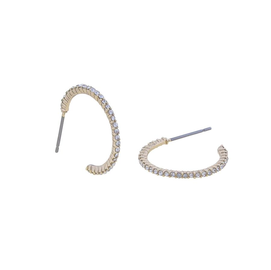 Snö Of Sweden Lily Oval Earring Gold/Clear 20mm