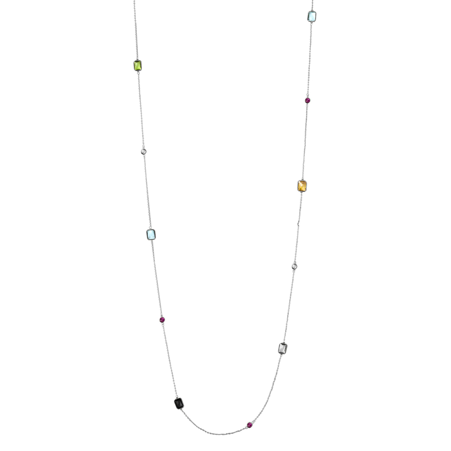 Snö of Sweden Twice Chain Neckles Silver/Mix 100cm