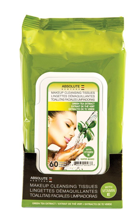 Absolute New York Make-Up Cleansing Tissues Water Based Green Tea Extract 60pcs