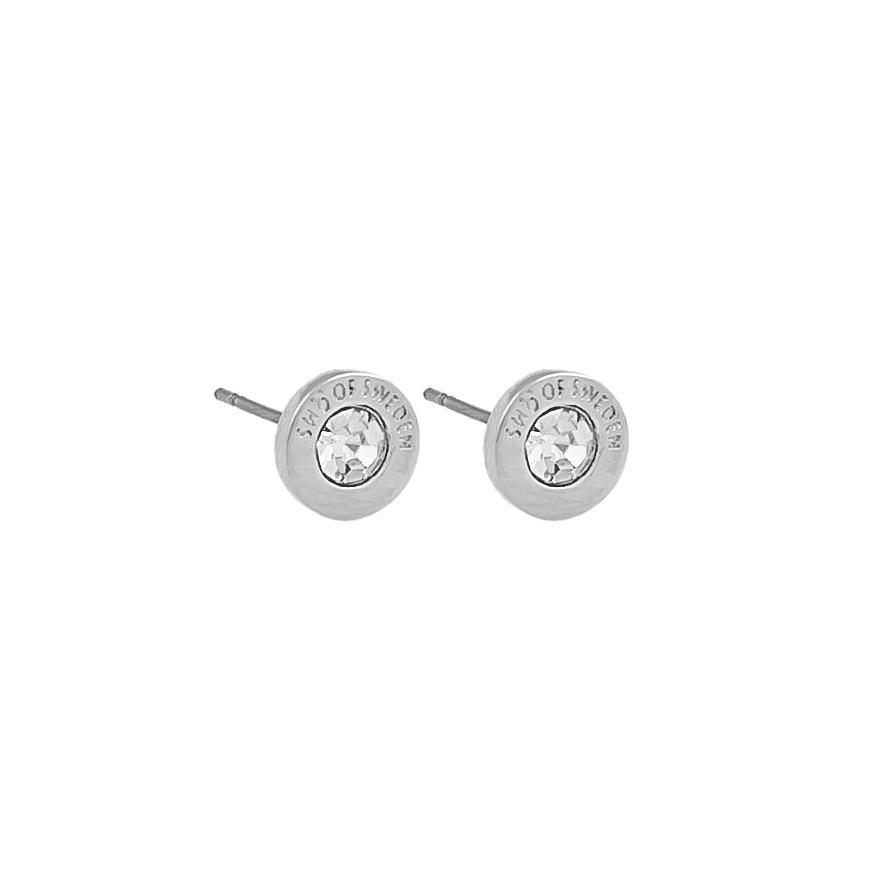 Snö Of Sweden Sence Small Coin Earring Silver/Clear 8mm