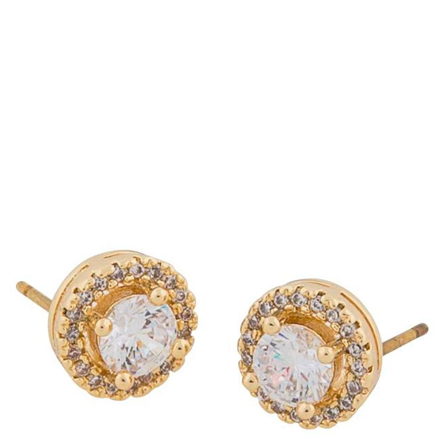 Snö Of Sweden Lou Round Stone Earring Gold/Clear 9mm