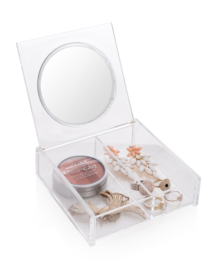 Cosmetic Organizer Box With Mirror
