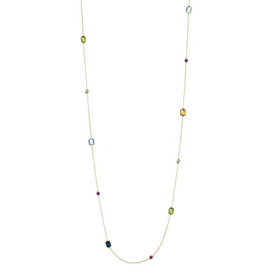 Snö of Sweden Twice Chain Neckles Gold/Mix 100cm