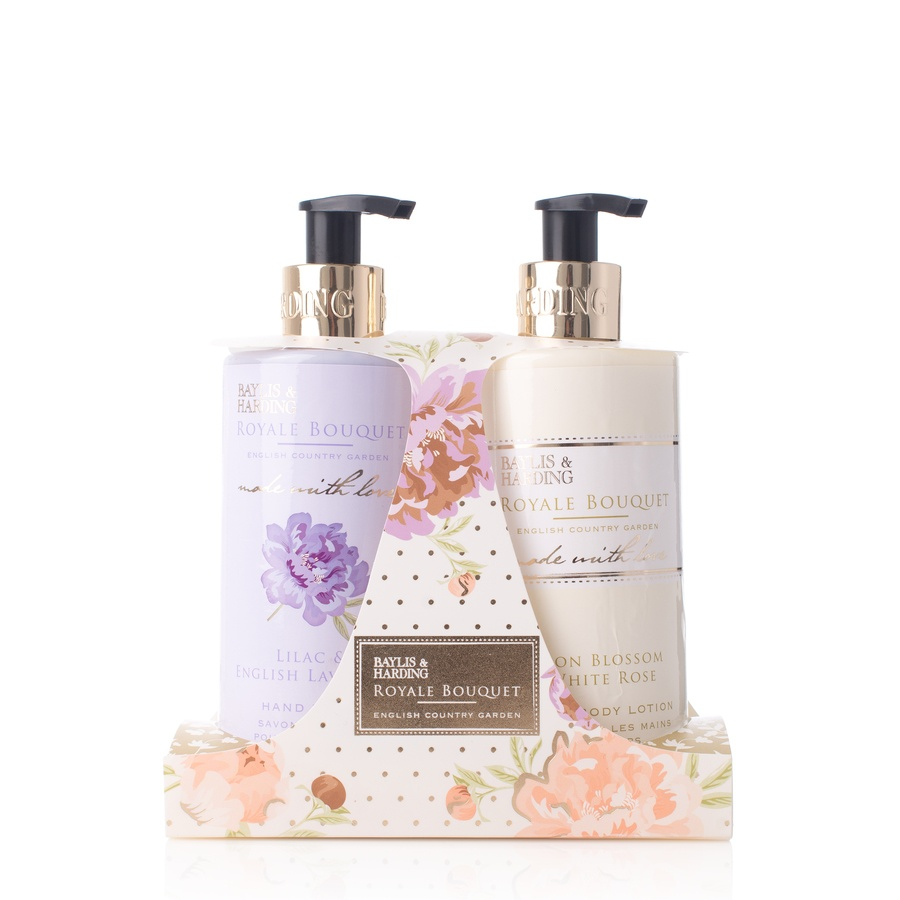 Baylis & Harding Royale Bouquet Lilac & English Lavender Hand Wash 300ml And Lemon Blossom & White Rose Hand & Body Lotion 300ml