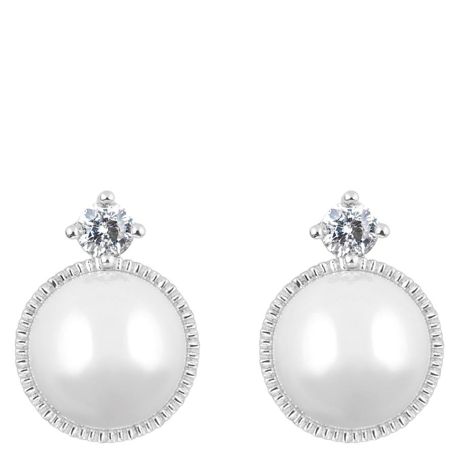 Snö of Sweden Gracie Small Earring Silver/White 13mm