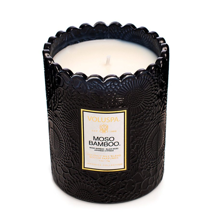 Voluspa Maso Bamboo Embossed Glass Scalloped Edge Candle 176g