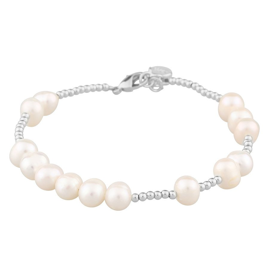 SNÖ of Sweden Penny Big Pearl Brace Silver/White