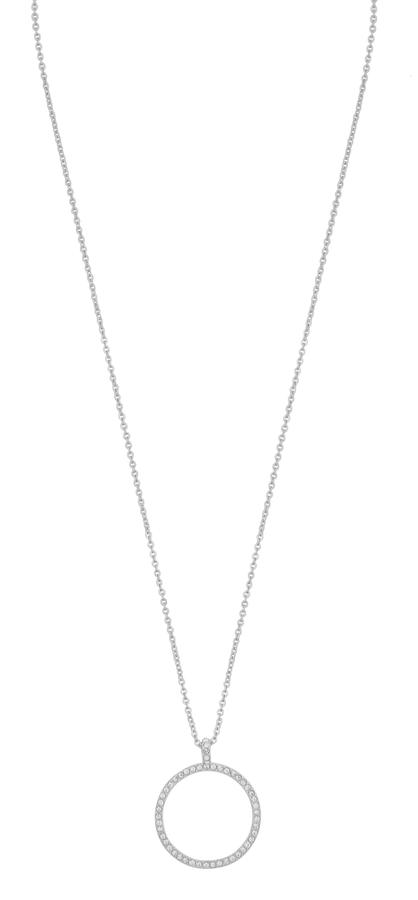 Snö Of Sweden Lily Pendant Necklace Silver/Clear 42cm