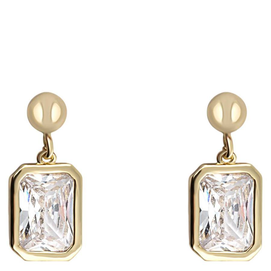 Snö of Sweden Twice Small Earring Gold/Clear 16mm