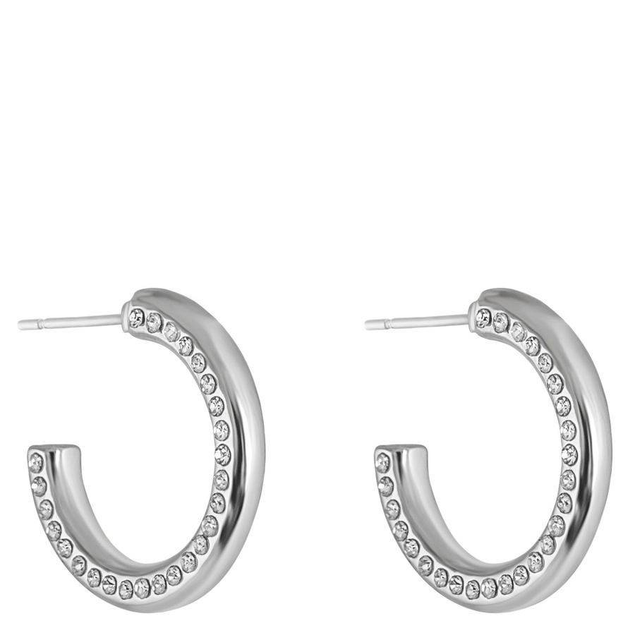 Snö of Sweden Adara Small Oval Earring Silver/Clear 18mm