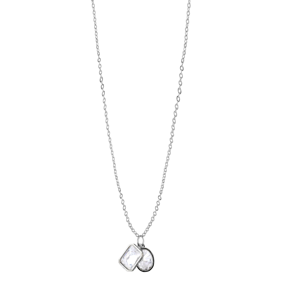 Snö of Sweden Twice Pendant Neckles Silver/Clear 42cm