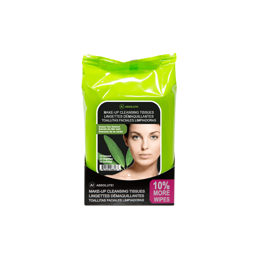 Absolute New York Make-Up Cleansing Tissues Green Tea Extract 33pcs