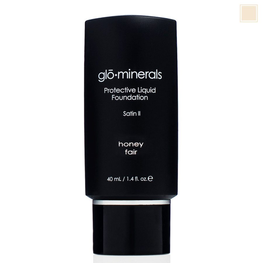 glóMinerals Protective Liquid Foundation-Satin II Honey Fair 40ml