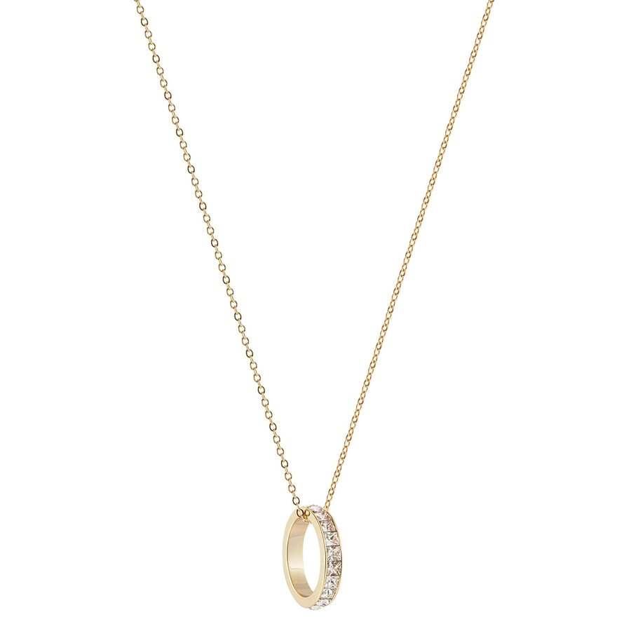 Snö of Sweden Trio Ring Pendant Neckles Gold/Clear 80cm