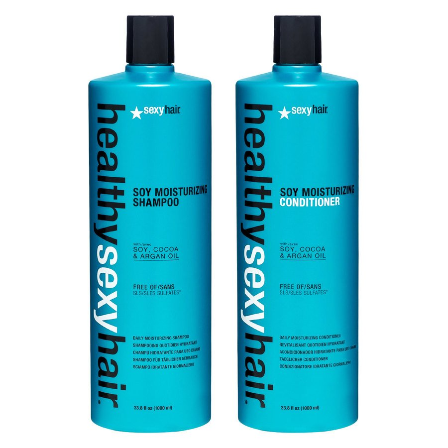 Healthy Sexy Hair Color Safe Soy Moisturizing Shampoo & Conditioner 2 x 1000ml (Duo)