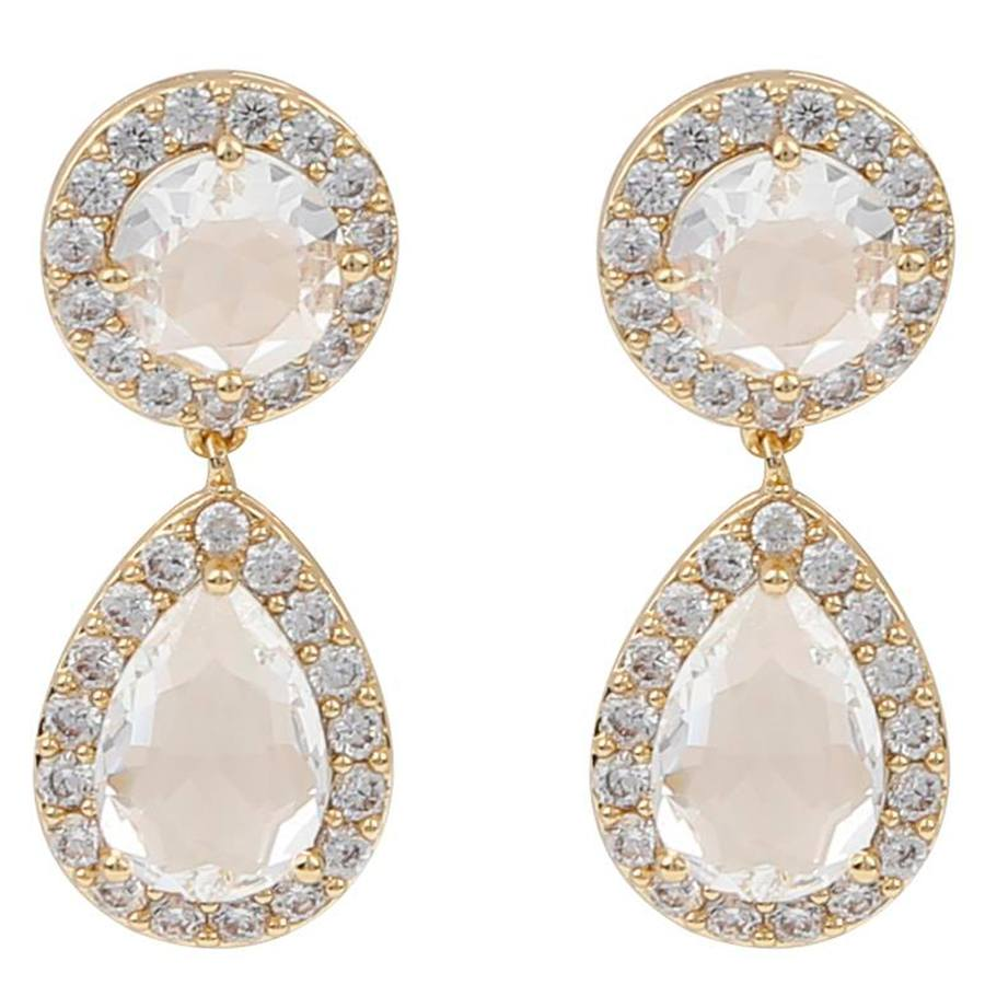 Snö Of Sweden Three Pendant Earring Gold/Clear