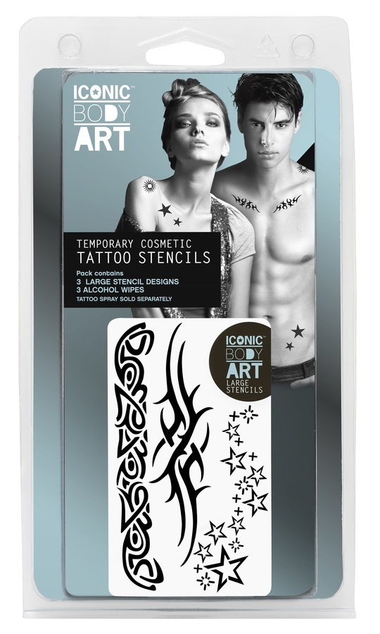 Iconic Body Art Large Stencils x 3