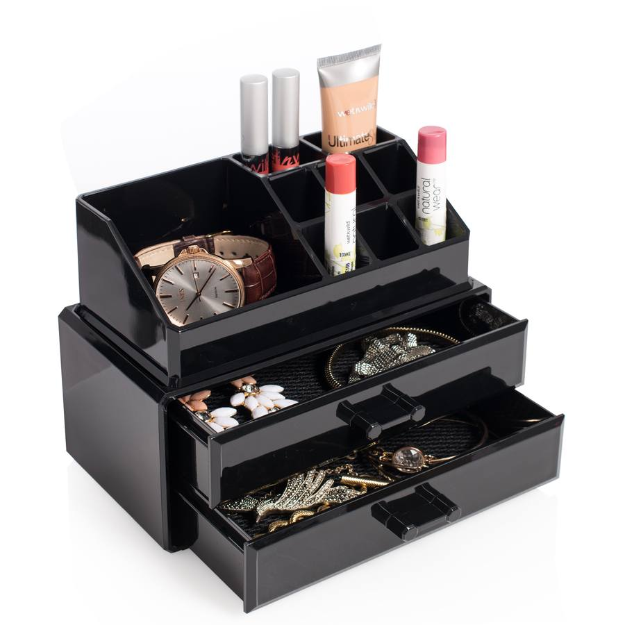 Cosmetic Organizer With 2 Drawers Svart