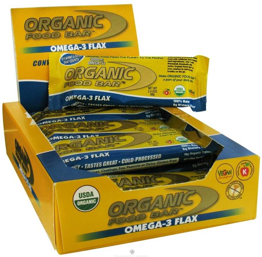 Organic Food Bar Omega-3 Flax 12 x 70g