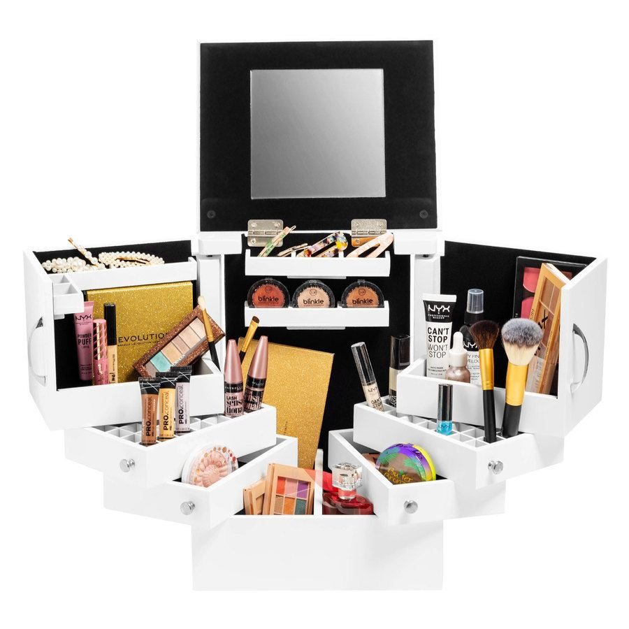 Shelas Deluxe Cosmetic Organizer Box With Mirror White