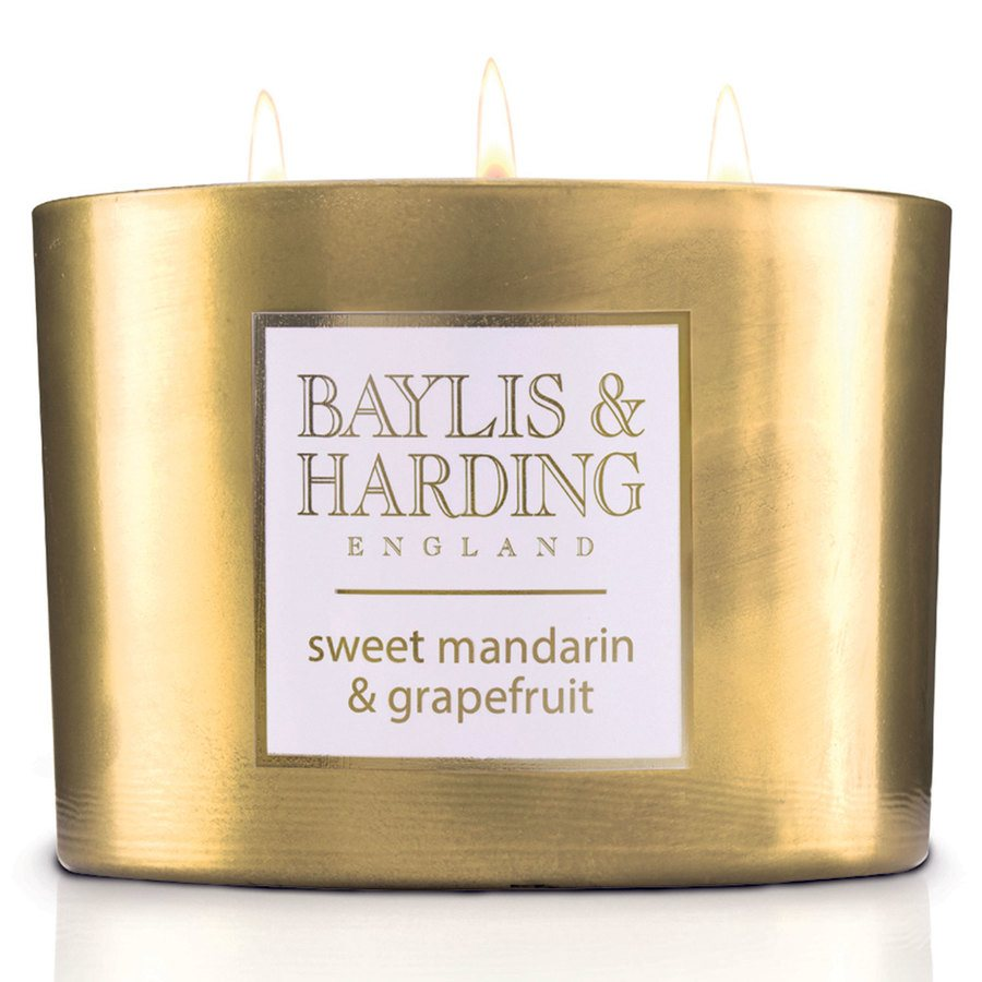 Baylis & Harding Sweet Mandarin & Grapefruit 3 Wick Candle With Metallic Holder