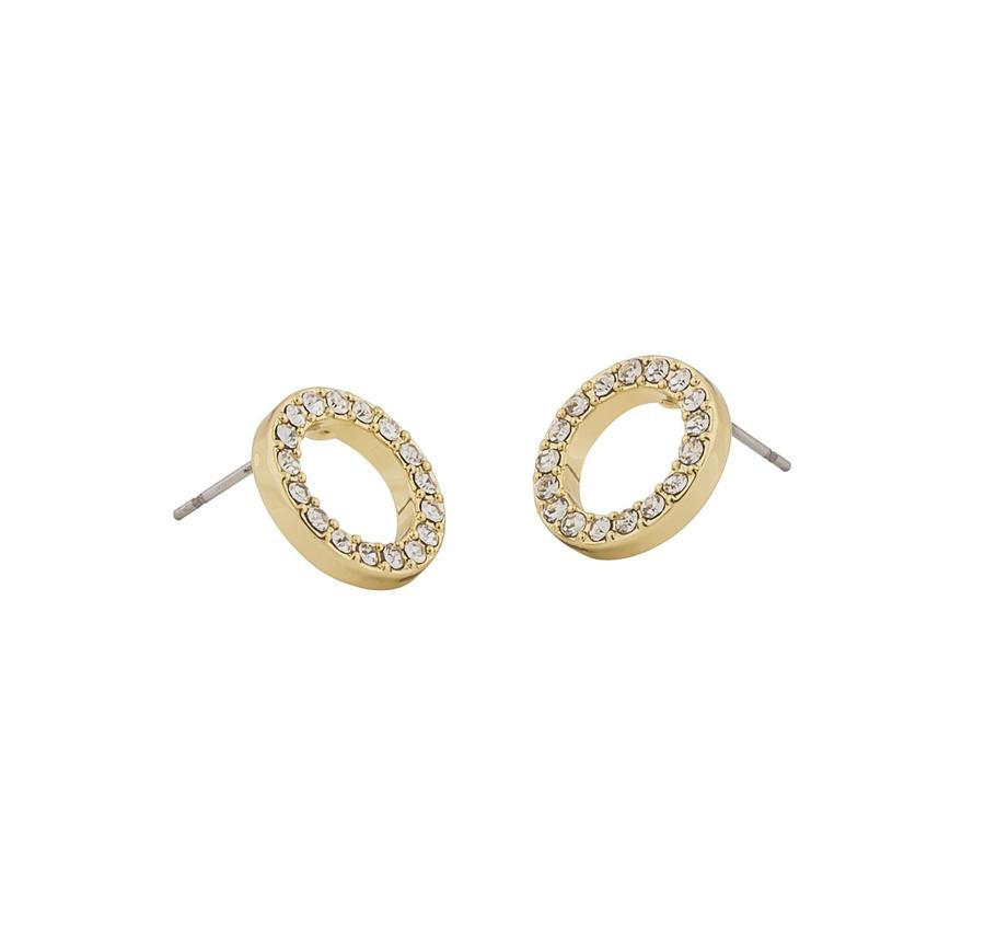 Snö Of Sweden Pi Coin Ring Earring Gold/Clear 10mm
