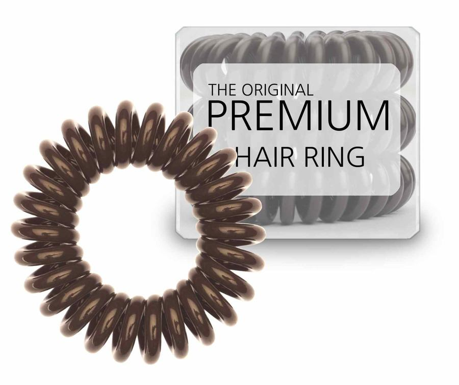 Premium Hair Rings Brown 3pk Strikk